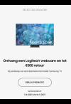 Samsung QLed: Tot €500 cashback + Webcam gratis