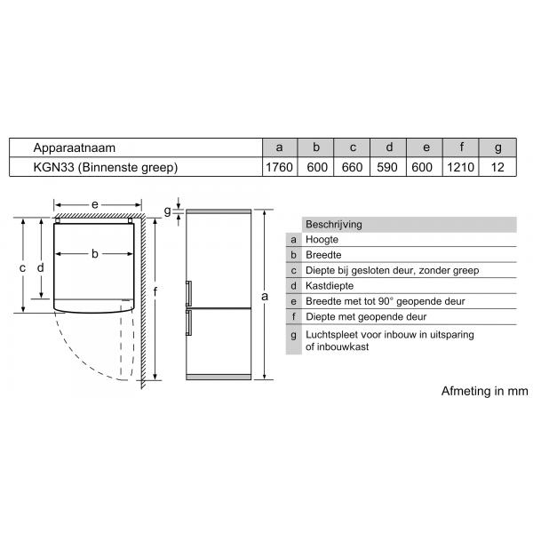 Bosch Koelkast vrijstaand KGN33NWEB
