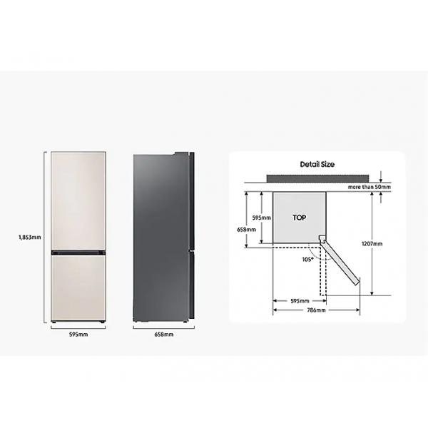 Bespoke Koel-vriescombinatie (344L) Satin Beige Samsung
