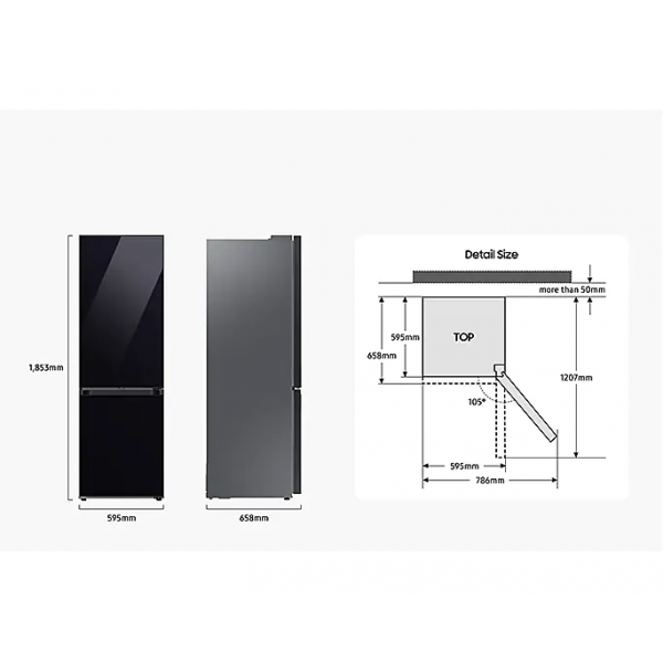 Bespoke Koel-vriescombinatie (344L) Clean Black Samsung