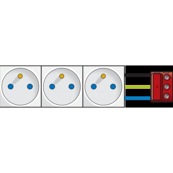 3x contactdoos 45x45 tweepolig+aardpen met veiligheid