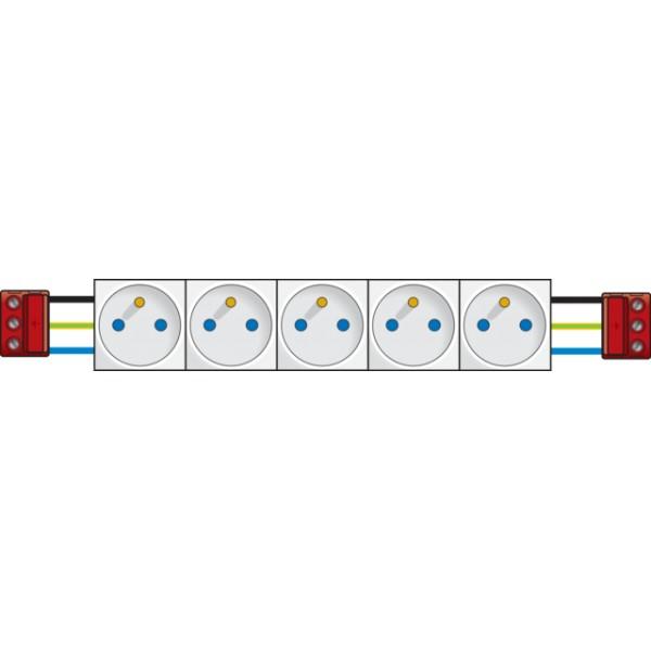 5x contactdoos 45x45 tweepolig+aardpen met veiligheid