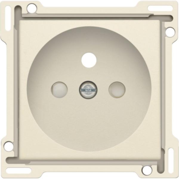 Afwerkingsset voor stopcontact met penaarde en beschermingsafsluiters, inbouwdiepte 28,5 mm, cream