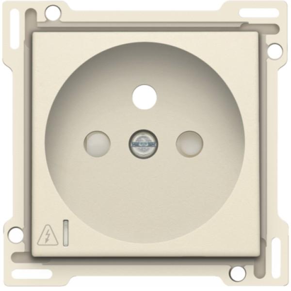 Afwerkingsset voor stopcontact met overspanningsbeveiliging, penaarde en beschermingsafsluiters, inbouwdiepte 28,5 mm, incl. overspanningsmodule met rode led, cream