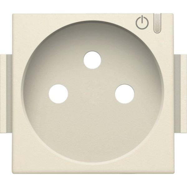 Afwerkingsset voor geconnecteerde schakelbare wandcontactdoos met penaarde en bedieningsknop, cream