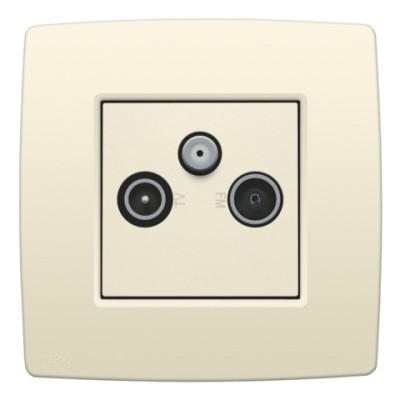 2x enkelvoudige coaxaansluiting voor tv, FM en satelliet, sokkel en afwerkingsset cream  Niko