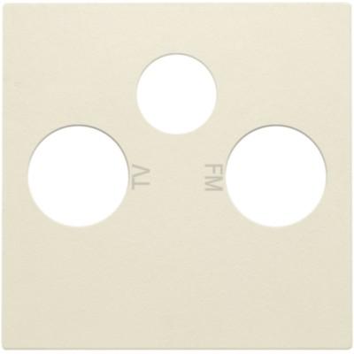 Afwerkingsset voor 2 enkelvoudige coaxaansluitingen voor tv en FM en een satellietaansluiting, cream  Niko