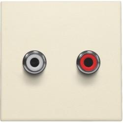 Afwerkingsset met 2 cinch-audioaansluitingen, ook voor inbouw in installatiekanalen, cream  Niko