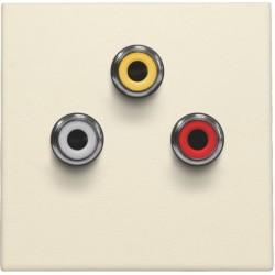 Afwerkingsset met 3 cinch-aansluitingen, ook voor inbouw in installatiekanalen, cream  Niko