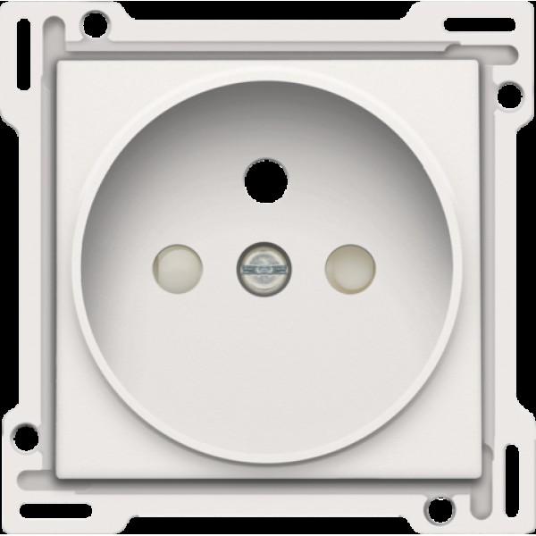 Afwerkingsset voor stopcontact met penaarde en beschermingsafsluiters, inbouwdiepte 21 mm, white