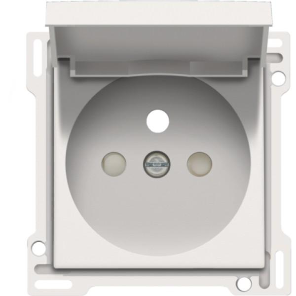 Afwerkingsset voor stopcontact met klapdeksel, penaarde en beschermingsafsluiters, inbouwdiepte 28,5 mm, white