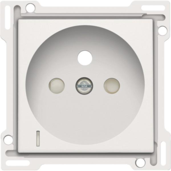 Afwerkingsset met doorschijnende lens voor stopcontact met spanningsaanduiding, penaarde en beschermingsafsluiters, inbouwdiepte 28,5 mm, white