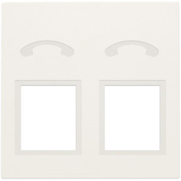 Afwerkingsset voor telefooncontactdoos met 2 RJ11-contacten in parallel, white