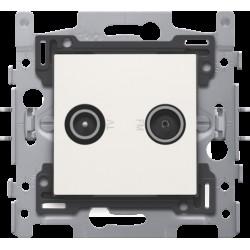2x enkelvoudige coaxaansluiting voor tv en FM Telenet Interkabel, sokkel en afwerkingsset white  Niko