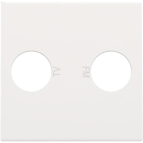 Afwerkingsset voor 2 enkelvoudige coaxaansluitingen voor tv en FM Telenet Interkabel, white