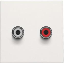 Afwerkingsset met 2 cinch-audioaansluitingen, ook voor inbouw in installatiekanalen, white  Niko