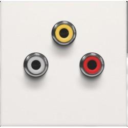 Afwerkingsset met 3 cinch-aansluitingen, ook voor inbouw in installatiekanalen, white  Niko