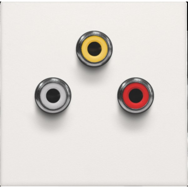 Afwerkingsset met 3 cinch-aansluitingen, ook voor inbouw in installatiekanalen, white