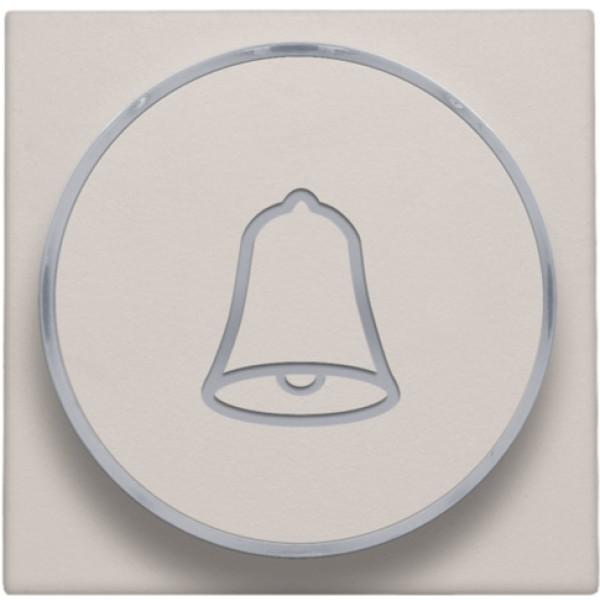 Afwerkingsset met doorschijnende ring met belsymbool voor drukknop 6 A met amberkleurige led met E10-lampvoet, light grey