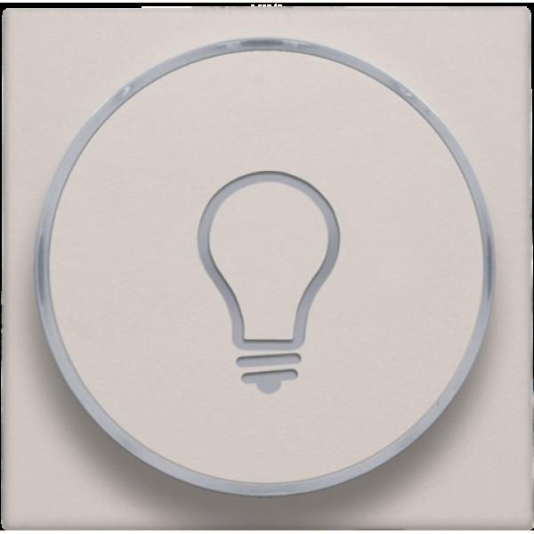 Afwerkingsset met doorschijnende ring met lampsymbool voor drukknop 6A met amberkleurige led met E10-lampvoet, light grey