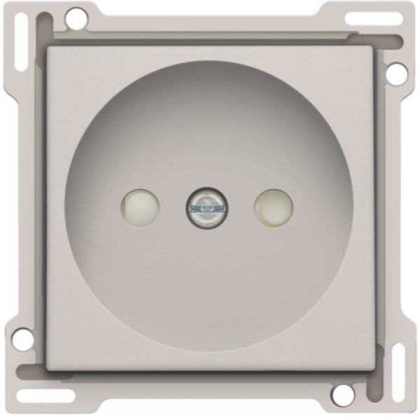 Afwerkingsset voor stopcontact zonder aarding met beschermingsafsluiters, inbouwdiepte 21 mm, light grey