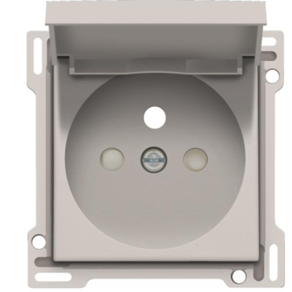 Afwerkingsset voor stopcontact met klapdeksel, penaarde en beschermingsafsluiters, inbouwdiepte 28,5 mm, light grey