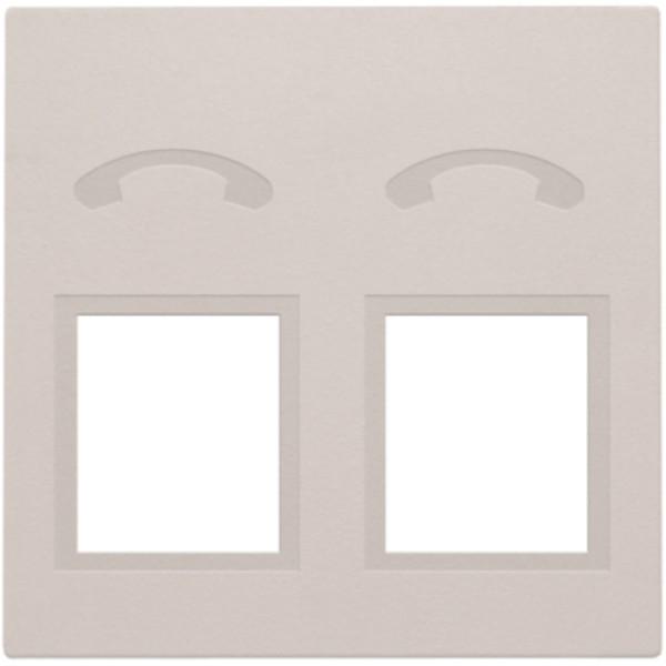 Afwerkingsset voor telefooncontactdoos met 2 RJ11-contacten in parallel, light grey