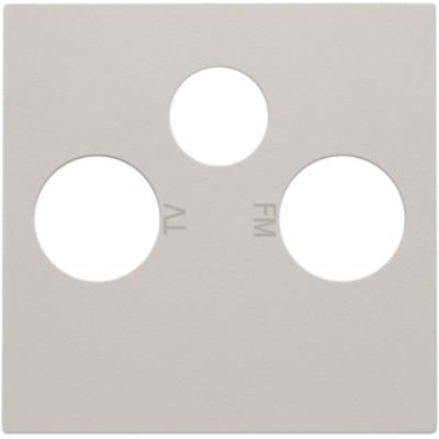Afwerkingsset voor 2 enkelvoudige coaxaansluitingen voor tv en FM en een satellietaansluiting, light grey  Niko