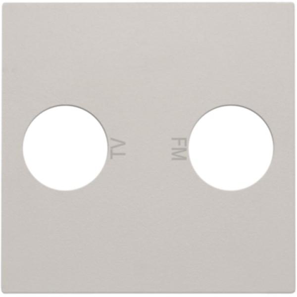 Afwerkingsset voor 2 enkelvoudige coaxaansluitingen voor tv en FM Telenet Interkabel, light grey