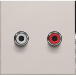 Afwerkingsset met 2 cinch-audioaansluitingen, ook voor inbouw in installatiekanalen, light grey  Niko