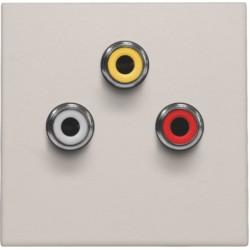 Afwerkingsset met 3 cinch-aansluitingen, ook voor inbouw in installatiekanalen, light grey  Niko