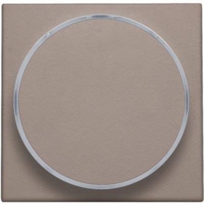 Afwerkingsset met doorschijnende ring zonder symbool voor drukknop 6 A met amberkleurige led met E10-lampvoet, greige  Niko