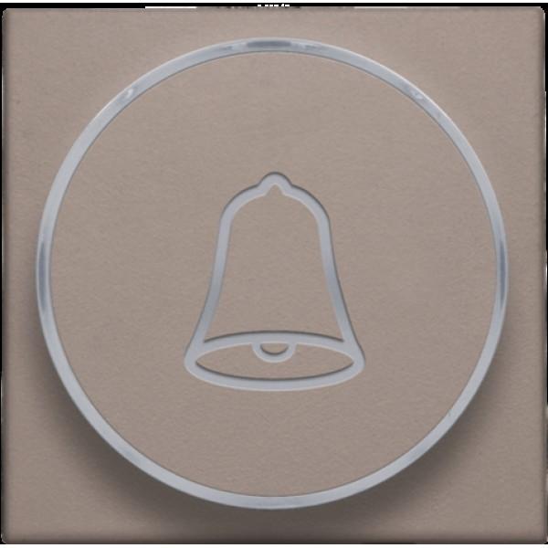 Afwerkingsset met doorschijnende ring met belsymbool voor drukknop 6 A met amberkleurige led met E10-lampvoet, greige