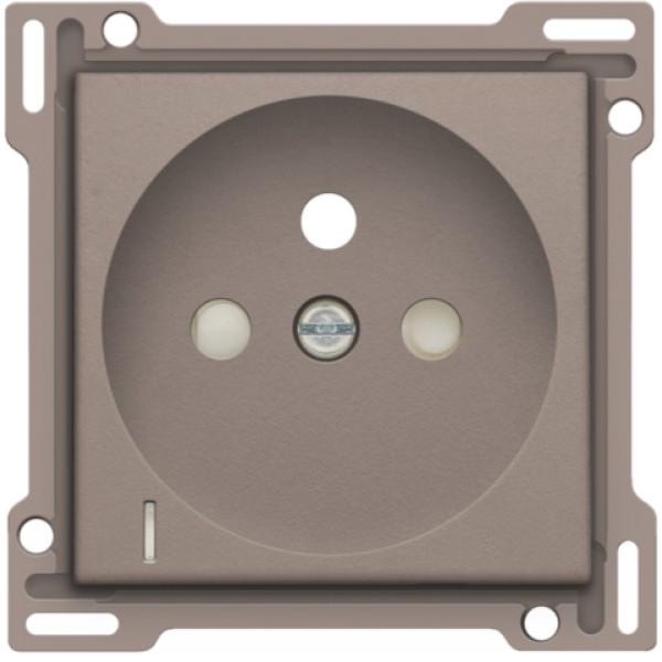 Afwerkingsset met doorschijnende lens voor stopcontact met spanningsaanduiding, penaarde en beschermingsafsluiters, inbouwdiepte 28,5 mm, greige