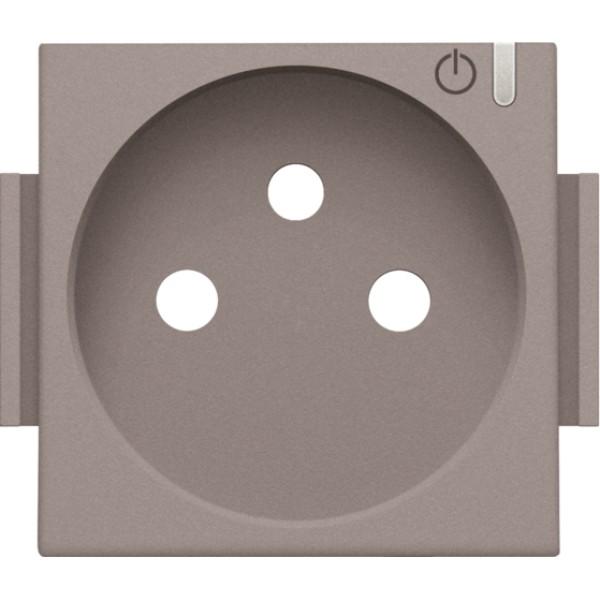 Afwerkingsset voor geconnecteerde schakelbare wandcontactdoos met penaarde en bedieningsknop, greige