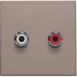 Afwerkingsset met 2 cinch-audioaansluitingen, ook voor inbouw in installatiekanalen, greige  Niko