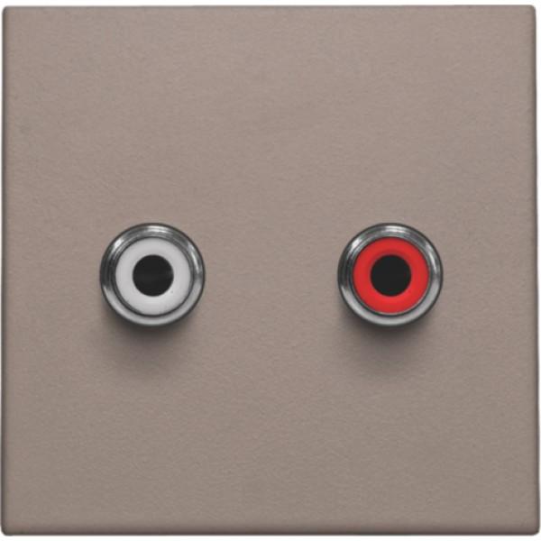 Afwerkingsset met 2 cinch-audioaansluitingen, ook voor inbouw in installatiekanalen, greige