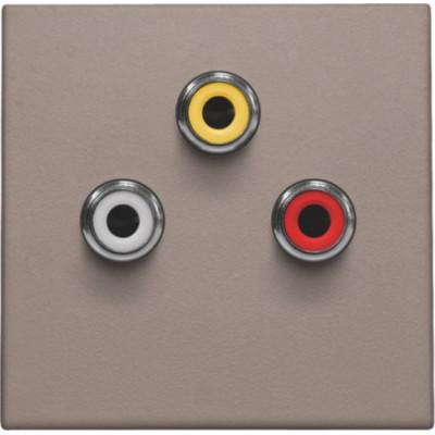 Afwerkingsset met 3 cinch-aansluitingen, ook voor inbouw in installatiekanalen, greige  Niko