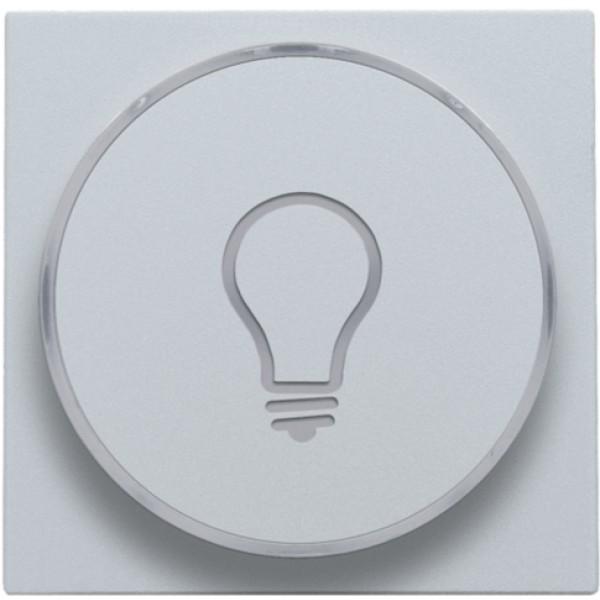 Afwerkingsset met doorschijnende ring met lampsymbool voor drukknop 6A met amberkleurige led met E10-lampvoet, sterling