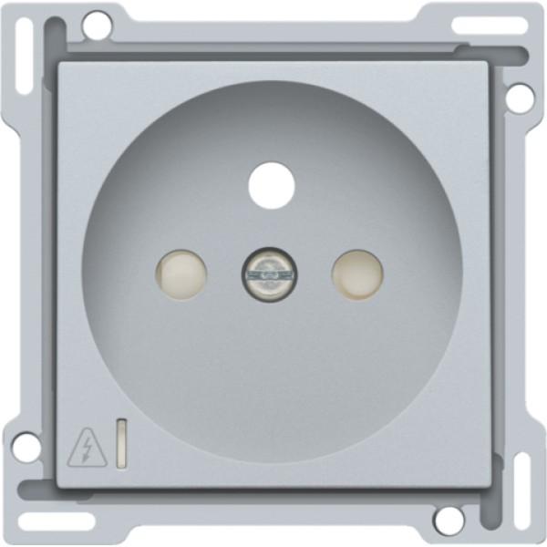 Afwerkingsset voor stopcontact met overspanningsbeveiliging, penaarde en beschermingsafsluiters, inbouwdiepte 28,5 mm, incl. overspanningsmodule met rode led, sterling