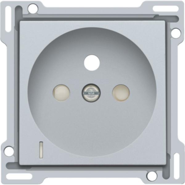 Afwerkingsset met doorschijnende lens voor stopcontact met spanningsaanduiding, penaarde en beschermingsafsluiters, inbouwdiepte 28,5 mm, sterling