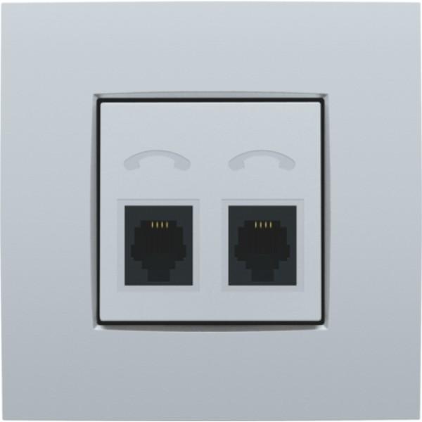 Afwerkingsset voor telefooncontactdoos met 2 RJ11-contacten in parallel, sterling