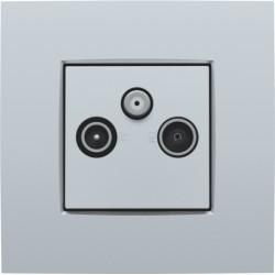 Afwerkingsset voor 2 enkelvoudige coaxaansluitingen voor tv en FM en een satellietaansluiting, sterling  Niko