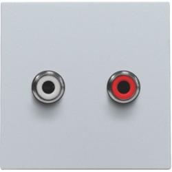 Afwerkingsset met 2 cinch-audioaansluitingen, ook voor inbouw in installatiekanalen, sterling  Niko
