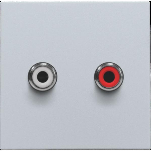 Afwerkingsset met 2 cinch-audioaansluitingen, ook voor inbouw in installatiekanalen, sterling