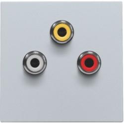 Afwerkingsset met 3 cinch-aansluitingen, ook voor inbouw in installatiekanalen, sterling  Niko