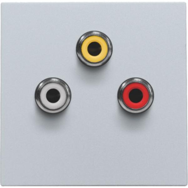 Afwerkingsset met 3 cinch-aansluitingen, ook voor inbouw in installatiekanalen, sterling