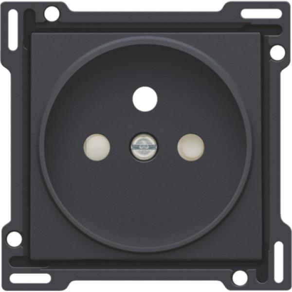 Afwerkingsset voor stopcontact met penaarde en beschermingsafsluiters, inbouwdiepte 21 mm, anthracite
