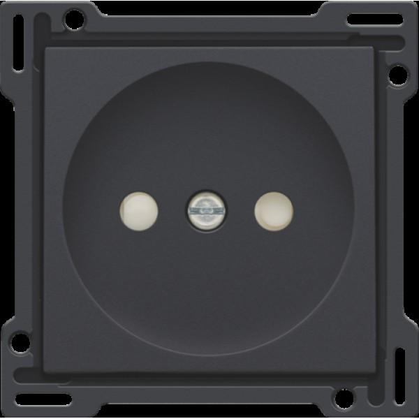Afwerkingsset voor stopcontact zonder aarding met beschermingsafsluiters, inbouwdiepte 21 mm, anthracite