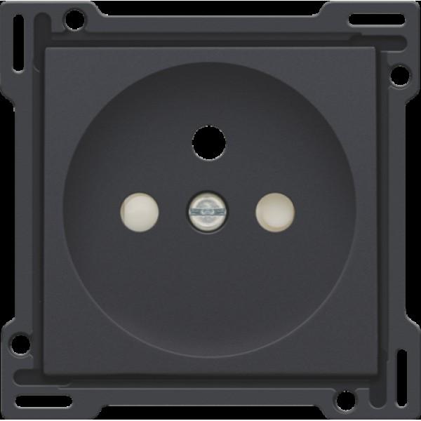 Afwerkingsset voor stopcontact met penaarde en beschermingsafsluiters, inbouwdiepte 28,5 mm, anthracite